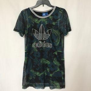 Adidas Floral Mesh Dress Sz 36 Medium Green Black